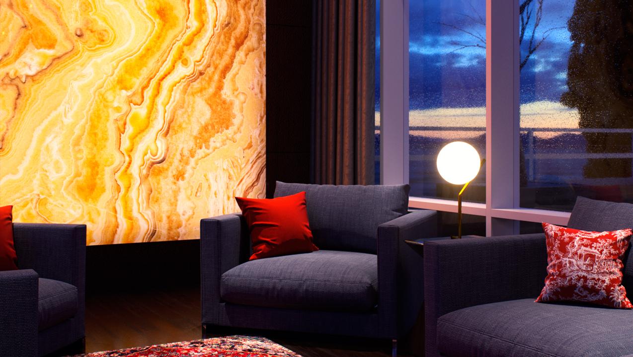 Красиво обработанный камень смотрится в помещениях с панорамным остеклением, когда из окон открывается роскошный вид на город