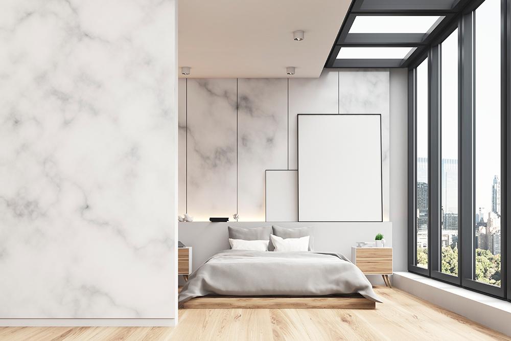 Оформление натуральным камнем спальни